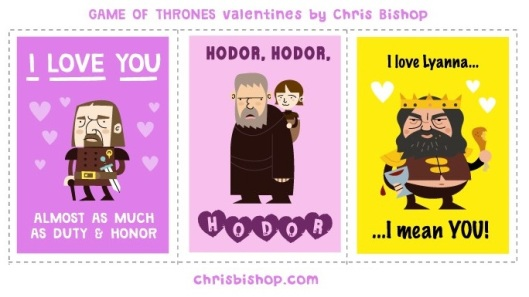 Chris Bishop Game Of Thrones Valentines Song of Ice and Fire Valentines Cards George R R Martin Literary