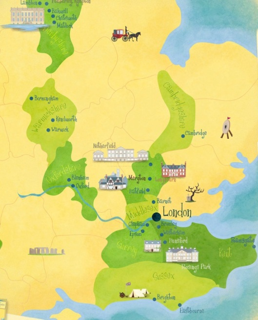 Jane Austen Pride and Prejudice Map Pemberley Pond Illustrated Adorable