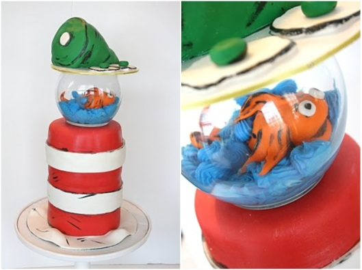 Dr. Seuss cake fish fishbowl cake green eggs and ham cake cat in the hat cake