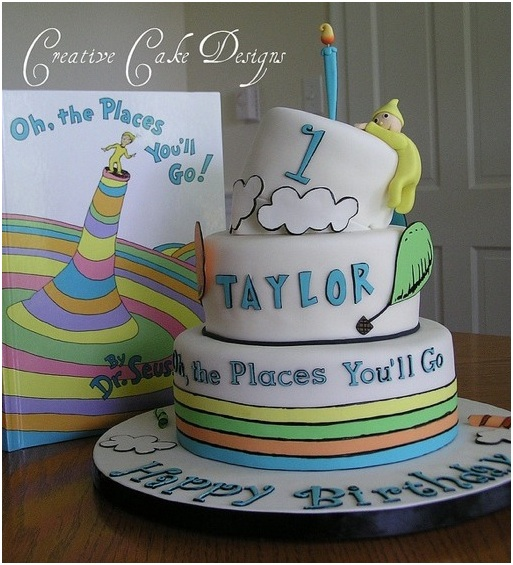 Doctor Dr. Seuss Baby Cake Oh The places you'll go cake graduation cake